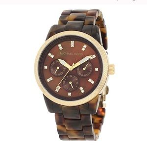 Michael Kors Gold and Tortoise Acetate Watch